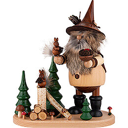 Smoker - Forest Gnome on Board with Squirrels - 26 cm / 10.2 inch