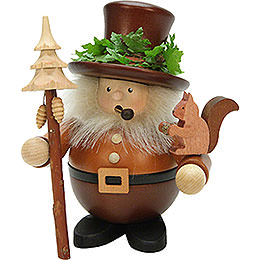 Smoker - Forest Man with Squirrel Natural Wood - 17,5 cm / 7 inch