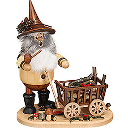Smoker - Gnome with Hand Wagon - 25 cm / 9.8 inch