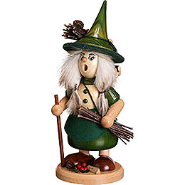 Smoker - Lady Gnome with Brushwood, Green - 25 cm / 10 inch