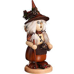 Smoker - Lady Gnome with Brushwood, Natural - 25 cm / 9.8 inch