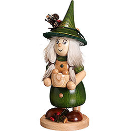 Smoker - Lady Gnome with Cooking Pot, Green - 25 cm / 10 inch
