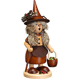 Smoker - Lady Gnome with Mushroom Bucket, Natural - 25 cm / 10 inch