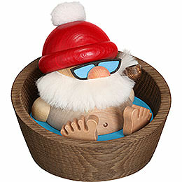Smoker - Santa Claus Karl in the Pool - Ball Figure - 10 cm / 3.9 inch