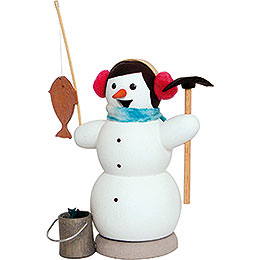 Smoker - Snowman as Ice Fisher - 13 cm / 5.1 inch