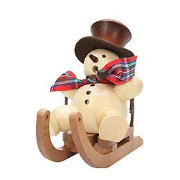 Smoker - Snowman on Sleigh Natural - 10,5 cm / 4 inch