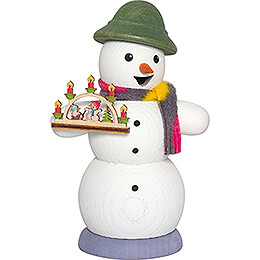 Smoker - Snowman with Candle Arch - 13 cm / 5.1 inch