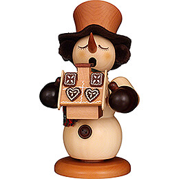 Smoker - Snowman with Gingerbread House Natural - 23,5 cm / 9.3 inch