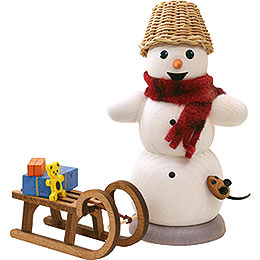 Smoker - Snowman with Sleigh and Mouse - 13 cm / 5.1 inch