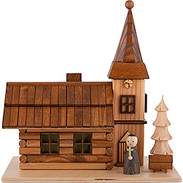 Smoking House - Rural Church with Pastor and LED - 19 cm / 7.5 inch