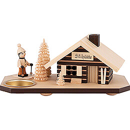 Smoking Hut - Ski Lodge - with Tea Light Holder - 10 cm / 3.9 inch