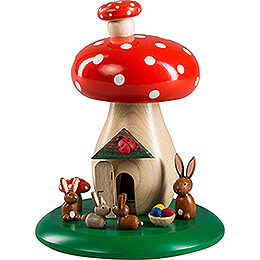Smoking Hut - Toadstool with Bunnies - 13 cm / 5.1 inch