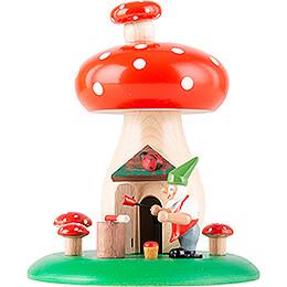 Smoking Hut - Toadstool with Dwarf - 12,5 cm / 4.9 inch