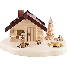 Smoking Hut with Tea Light Holder - Lumberjack - 11 cm / 4.3 inch