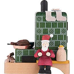 Smoking Stove with Santa - 13 cm / 5.1 inch