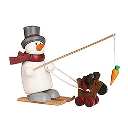 Snow Man Fritz with Ski and Moose - 9 cm / 3.5 inch