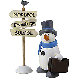 Snow Man Fritz with Suitcase - 8 cm / 3.1 inch