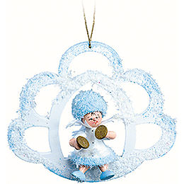 Snowflake with Cymbal in Cloud - 7x7x4 cm / 2.8x2.8x1.6 inch