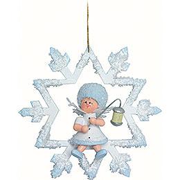Snowflake with Lampion - 7x7x4 cm / 2.8x2.8x1.5 inch