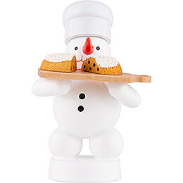 Snowman Baker with Christmas Stollen - 8 cm / 3.1 inch