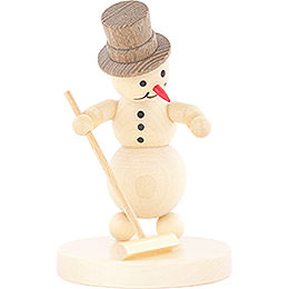 Snowman Curling Player with Broom - 12 cm / 4.7 inch