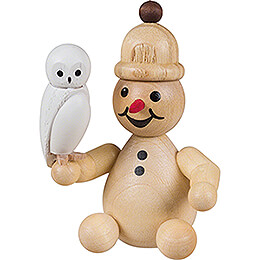 Snowman Junior with Snowy Owl sitting - 7 cm / 2.8 inch