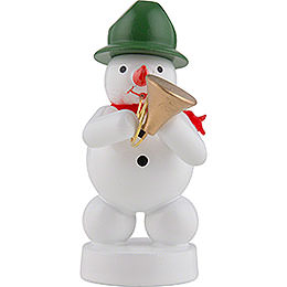 Snowman Musician with Bugle - 8 cm / 3 inch