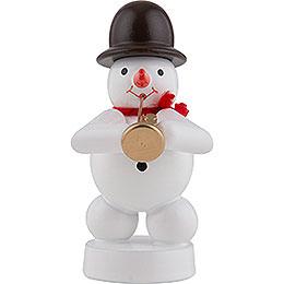Snowman Musician with Jazz Trumpet - 8 cm / 3 inch