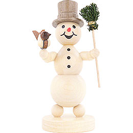 Snowman with Broom and Bird - 12 cm / 4.7 inch