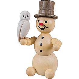 Snowman with Snowy Owl sitting - 12 cm / 4.7 inch