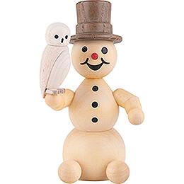 Snowman with Snowy Owl sitting - 12 cm / 4.7 inch