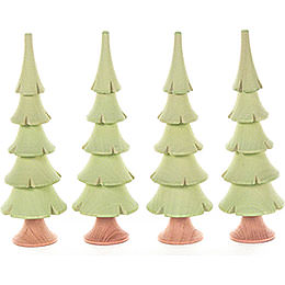 Solid Wood Trees - Bright Green - 4 pieces - 11 cm / 4.3 inch