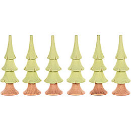 Solid Wood Trees - Bright Green - 6 pieces - 8 cm / 3.1 inch