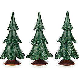 Solid Wood Trees - Green - 3 pieces - 6,5 cm / 2.6 inch