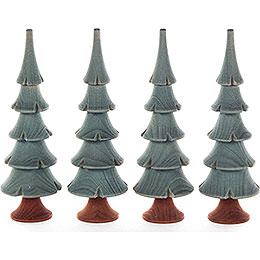 Solid Wood Trees - Green - 4 pieces - 11 cm / 4.3 inch
