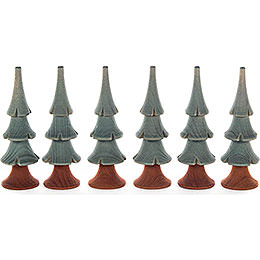 Solid Wood Trees - Green - 6 pieces - 8 cm / 3.1 inch