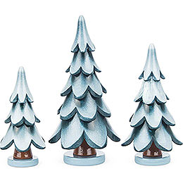 Solid Wood Trees - Green-White - 3 pieces - 11 cm / 4.3 inch