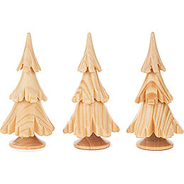 Solid Wood Trees - Natural - 3 pieces - 6,5 cm / 2.6 inch