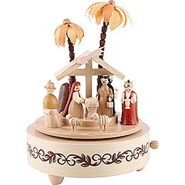 Spieldose Christi Geburt natur - 19 cm