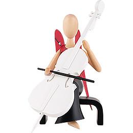 Sternkopf Engel mit Cello sitzend - 15,5 cm
