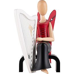 Sternkopf Engel mit Harfe sitzend - 15,5 cm