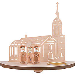 Tea Light Holder - Annaberg Church with Carolers - Natural - 16 cm / 6.3 inch