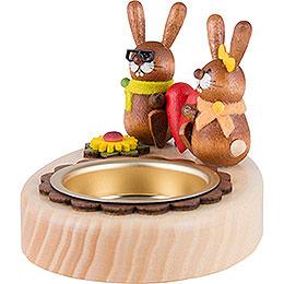 Tea Light Holder - Bunny Couple with Heart - 5 cm / 2 inch