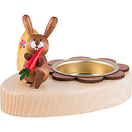 Tea Light Holder - Bunny with Carrot and Egg - 5 cm / 2 inch