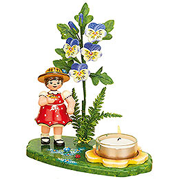 Tea Light Holder Girl with Horned Violet - 15x17 cm / 6x7 inch