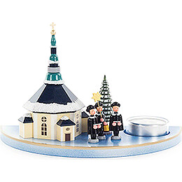 Tea Light Holder with Seiffen Church and Carolers - 11,5 cm / 4.5 inch
