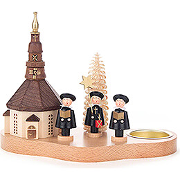 Tea Light Holder with Seiffen Church and Carolers - 12 cm / 4.7 inch