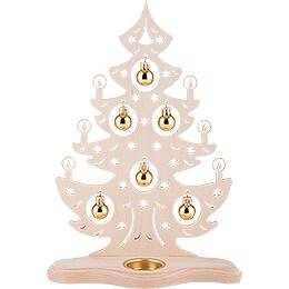 Teelichthalter Weihnachtsbaum mit goldenen Kugeln - 30,5 cm