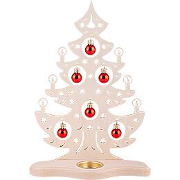 Teelichthalter Weihnachtsbaum mit roten Kugeln - 30,5 cm
