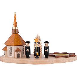 Teelichthalter mit Seiffener Kirche und Kurrende - 13 cm